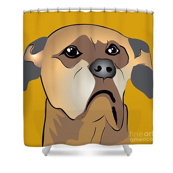 Niki Boxer Dog Portrait Shower Curtain