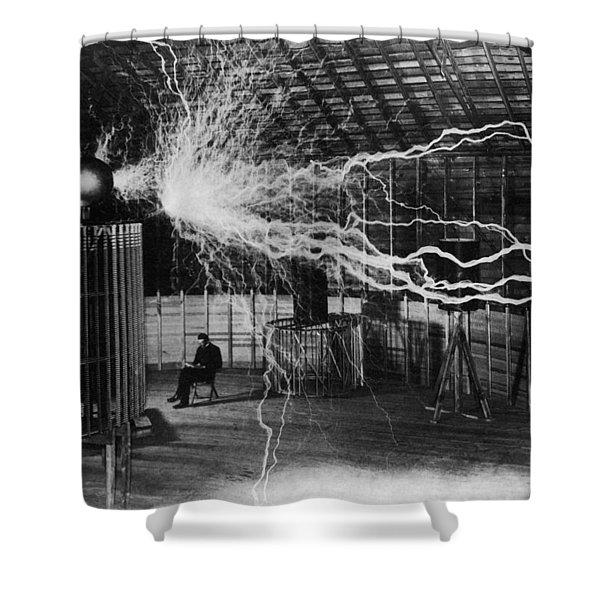 Nikola Tesla - Bolts Of Electricity Shower Curtain