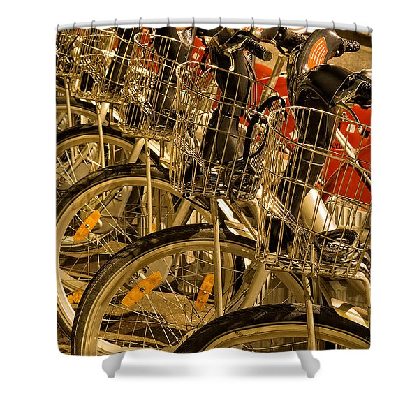 Bikes For Hire In Lyon Shower Curtain