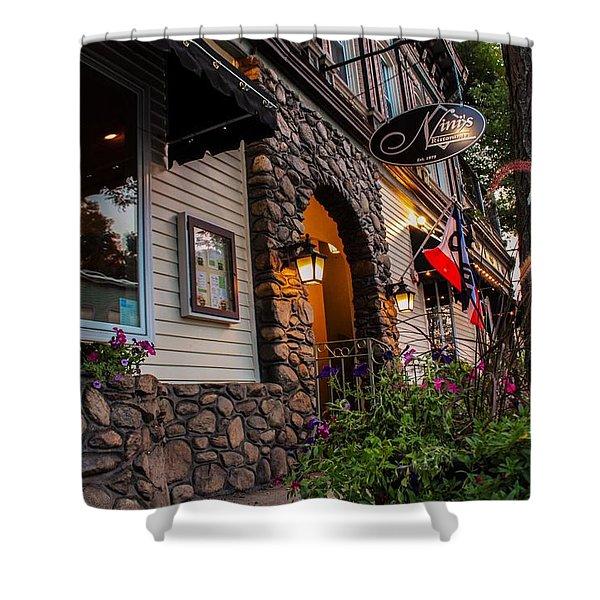 Shower Curtain featuring the photograph Nini's Restaurante Easthampton by Sven Kielhorn