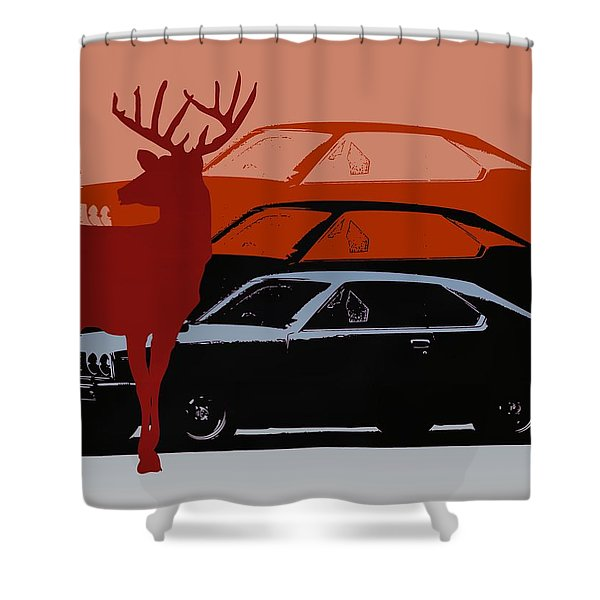 Nissan 210 With Deer 3 Shower Curtain