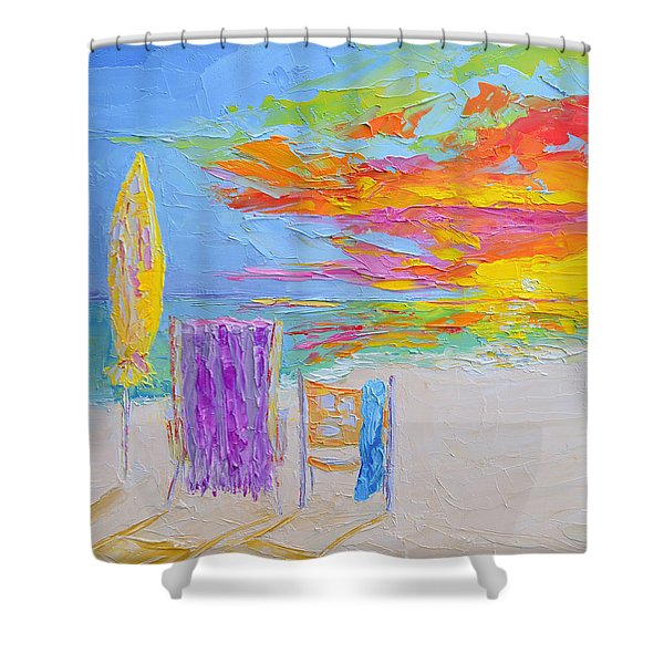 No Need For An Umbrella - Sunset At The Beach - Modern Impressionist Knife Palette Oil Painting Shower Curtain