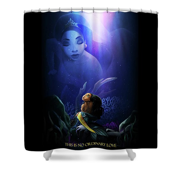 Shower Curtain featuring the digital art No Ordinary Love by Nelson Dedos Garcia