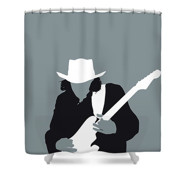No087 My Stevie Ray Vaughan Minimal Music Poster Shower Curtain