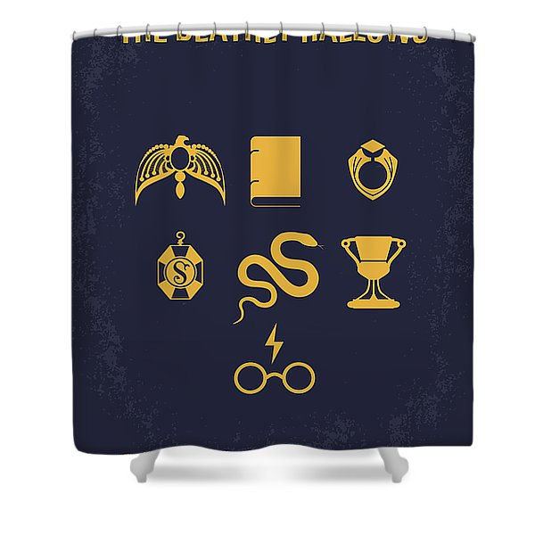No101-7 My Hp - Deathly Hallows Minimal Movie Poster Shower Curtain