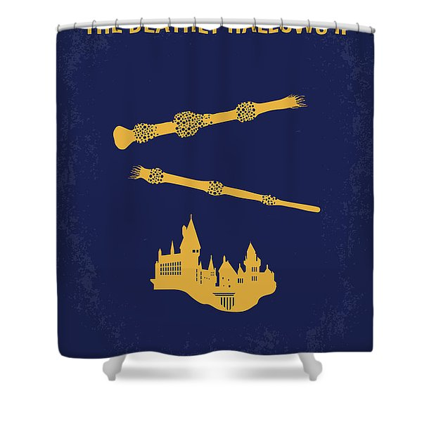 No101-8 My Hp - Deathly Hallows II Minimal Movie Poster Shower Curtain