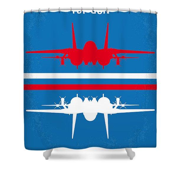 No128 My Top Gun Minimal Movie Poster Shower Curtain