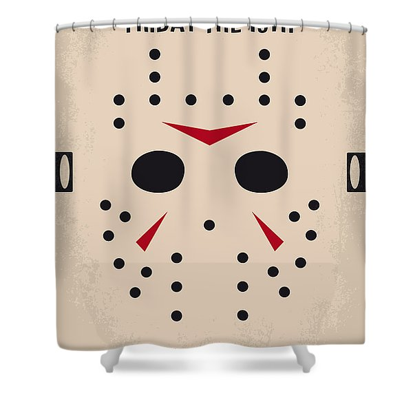 No449 My Friday The 13th Minimal Movie Poster Shower Curtain