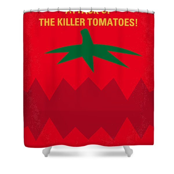 No499 My Attack Of The Killer Tomatoes Minimal Movie Poster Shower Curtain