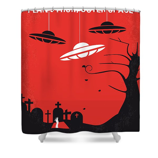 No518 My Plan 9 From Outer Space Minimal Movie Poster Shower Curtain