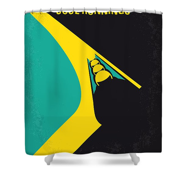 No538 My Cool Runnings Minimal Movie Poster Shower Curtain