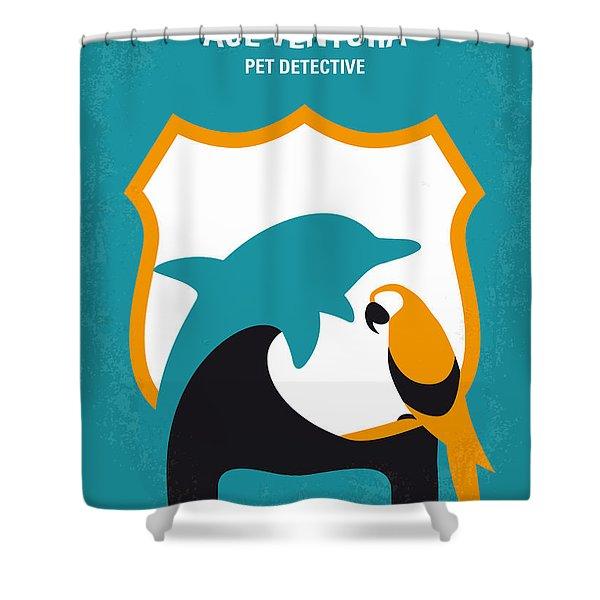 No558 My Ace Ventura Minimal Movie Poster Shower Curtain