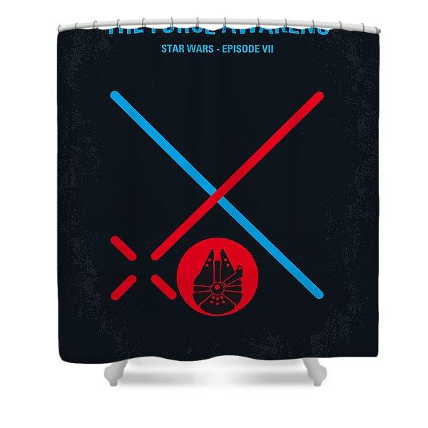 No591 My Star Wars Episode Vii The Force Awakens Minimal Movie Poster Shower Curtain