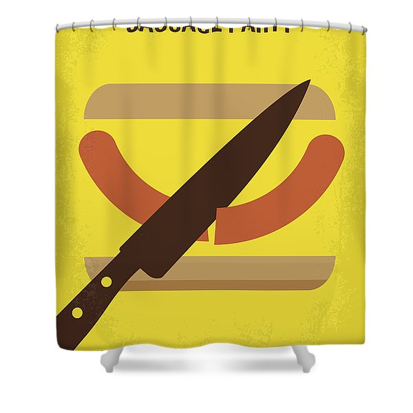 No704 My Sausage Party Minimal Movie Poster Shower Curtain