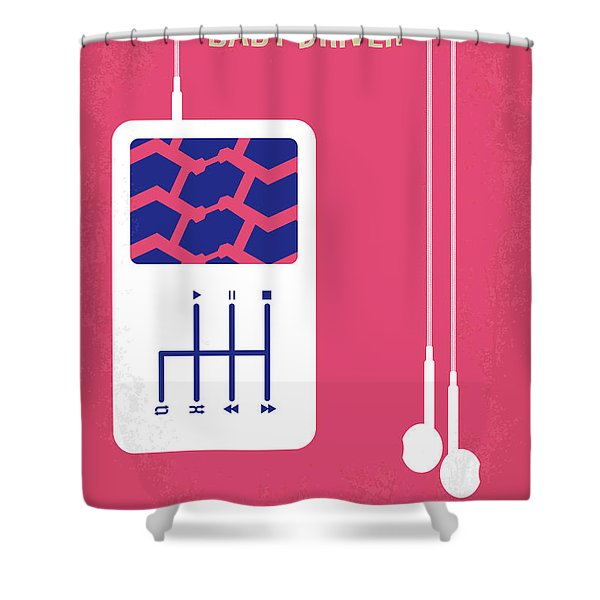 No872 My Baby Driver Minimal Movie Poster Shower Curtain