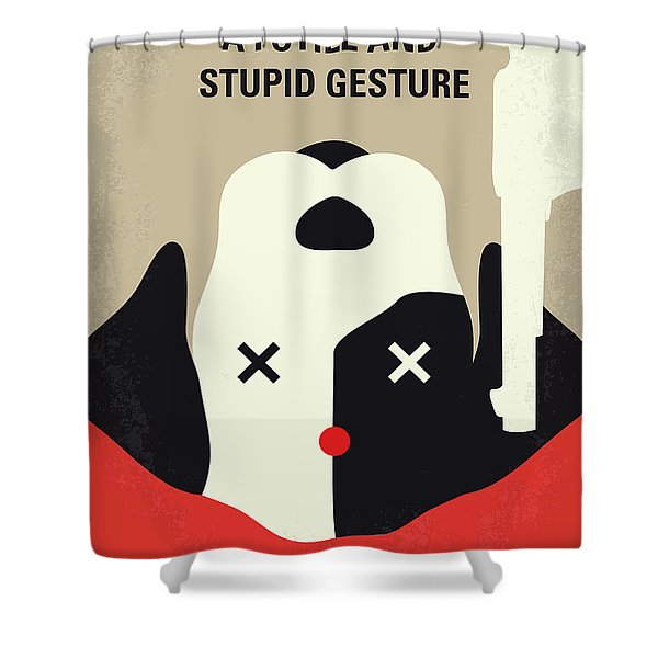 No893 My A Futile And Stupid Gesture Minimal Movie Poster Shower Curtain