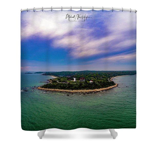 Nobska Lighthouse Panorama Shower Curtain
