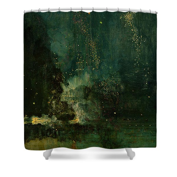 Nocturne In Black And Gold - The Falling Rocket Shower Curtain