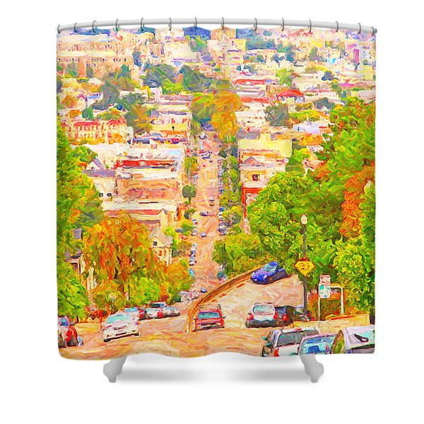 Noe Street San Francisco Shower Curtain by Wingsdomain Art and Photography