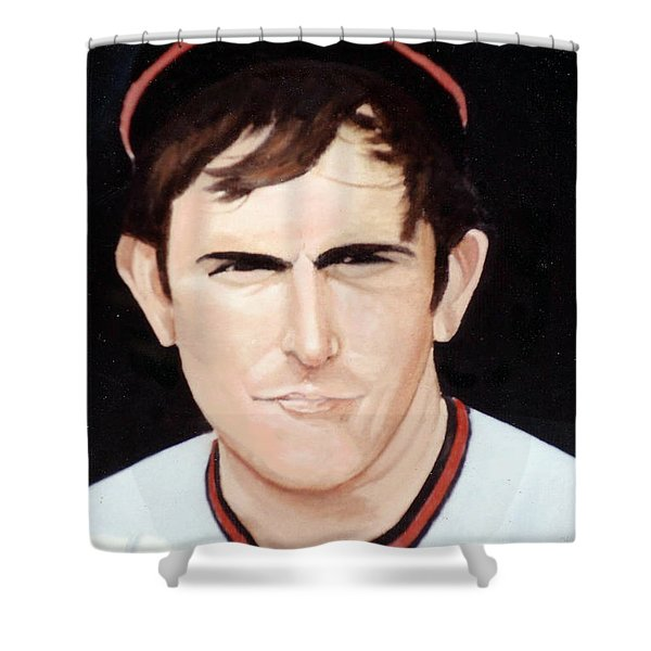 Shower Curtain featuring the painting Nolan Ryan With The Angels by Rosario Piazza