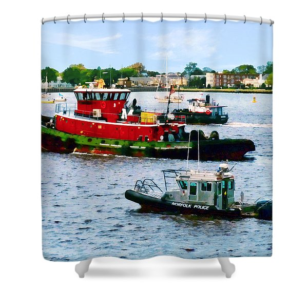 Norfolk Va - Police Boat And Two Tugboats Shower Curtain
