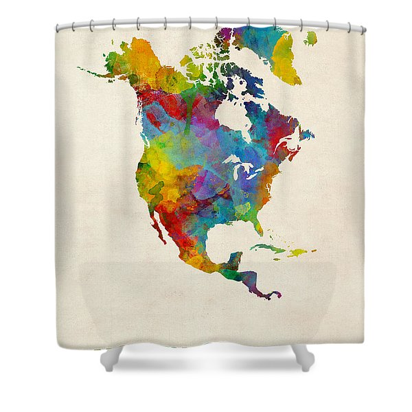 North America Continent Watercolor Map Shower Curtain