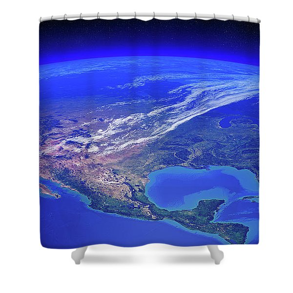 North America Seen From Space Shower Curtain