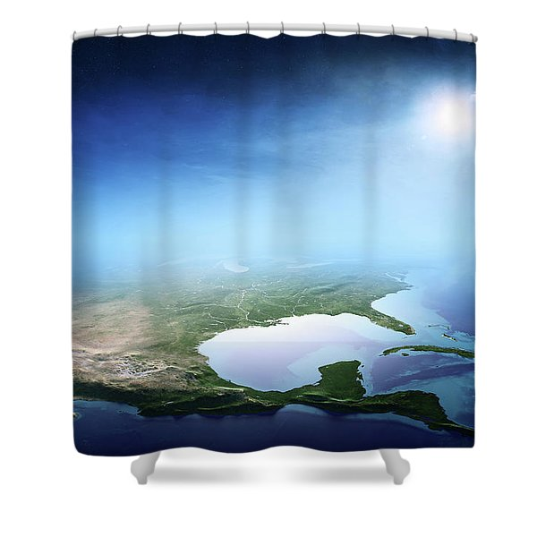 North America Sunrise Aerial View Shower Curtain