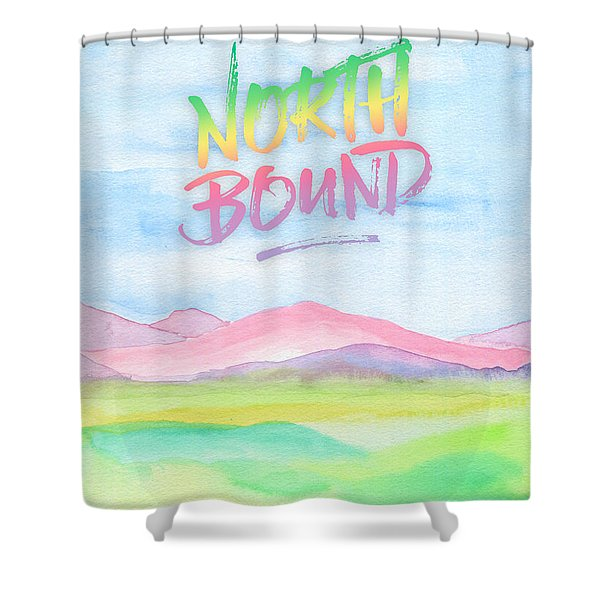 North Bound Pink Purple Mountains Watercolor Painting Shower Curtain