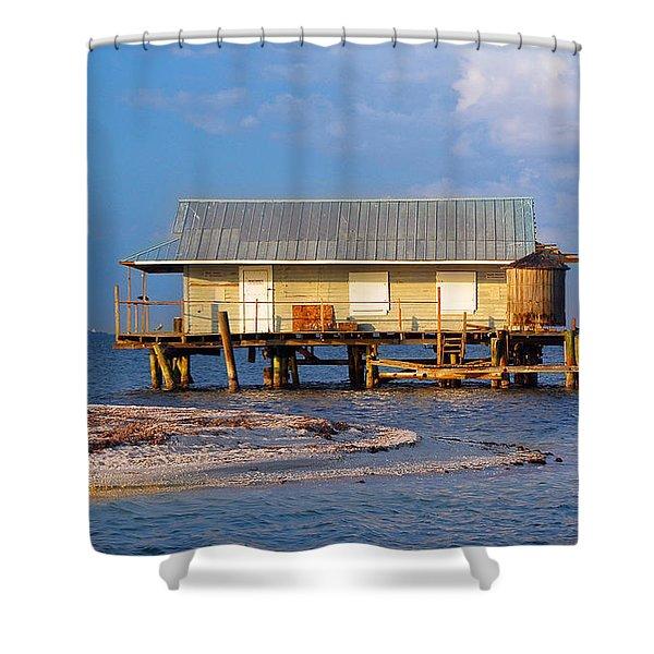 North Captiva Island Last Stilt House Standing Shower Curtain