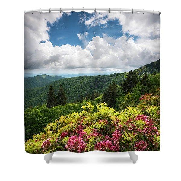 North Carolina Appalachian Mountains Spring Flowers Scenic Landscape Shower Curtain