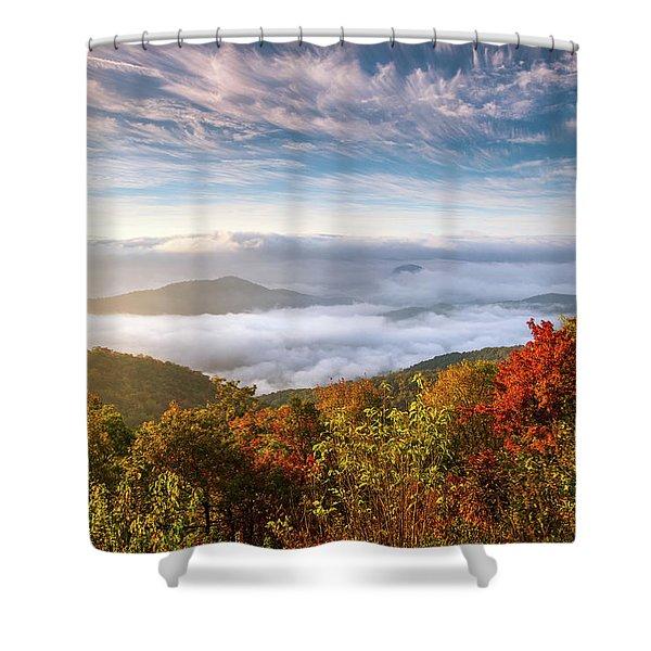 North Carolina Autumn Sunrise Blue Ridge Parkway Fall Foliage Nc Mountains Shower Curtain
