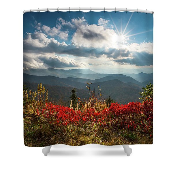 North Carolina Blue Ridge Parkway Scenic Landscape In Autumn Shower Curtain