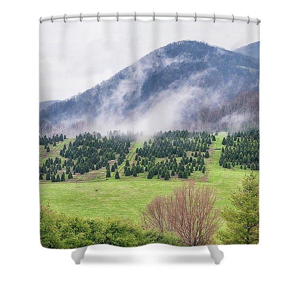 North Carolina Christmas Tree Farm Shower Curtain