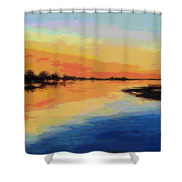 Shower Curtain featuring the painting North Carolina Emerald Isle Sunrise Original Digital Art by G Linsenmayer