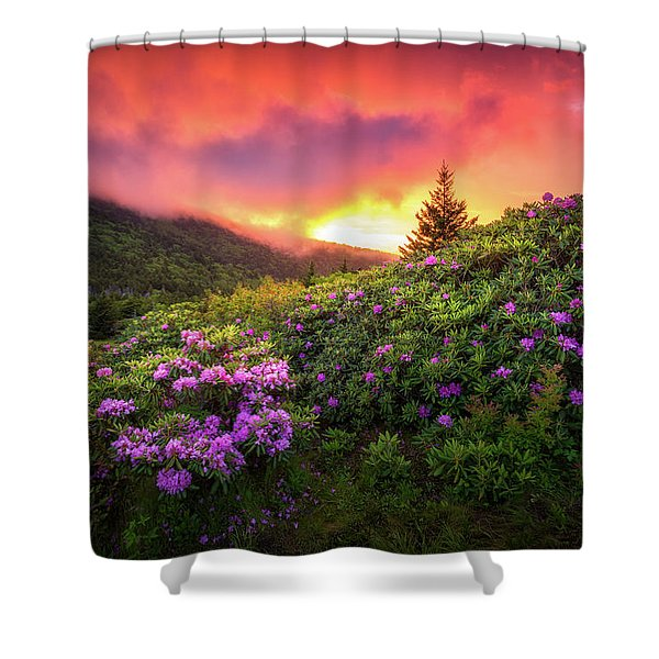 North Carolina Mountains Outdoors Landscape Appalachian Trail Spring Flowers Sunset Shower Curtain