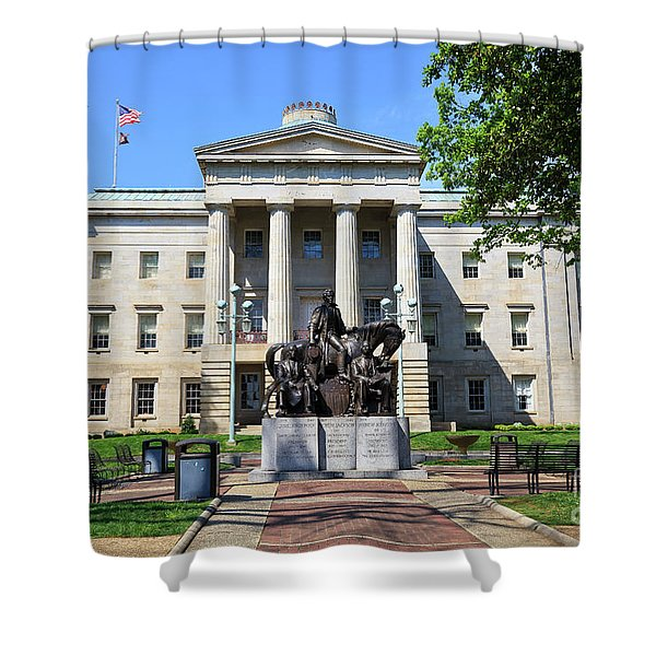 North Carolina State Capitol Building With Statue Shower Curtain