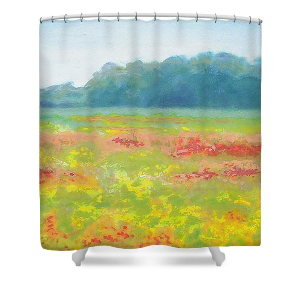 Shower Curtain featuring the painting North Carolina Wildflowers Landscape Original Fine Art Painting by G Linsenmayer