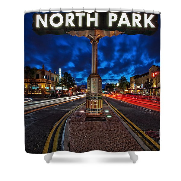 North Park Neon Sign San Diego California Shower Curtain