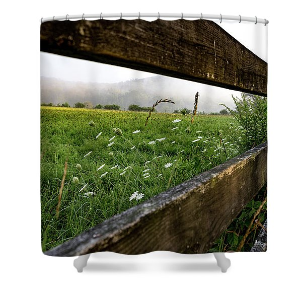 North Road Fence Shower Curtain