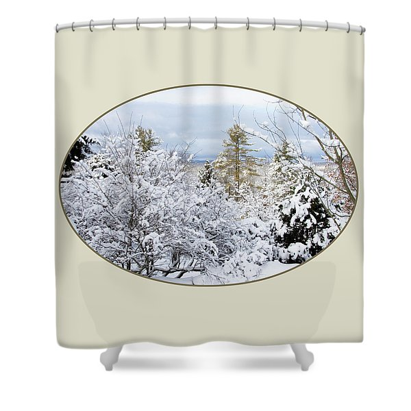 northeast USA photography button Shower Curtain