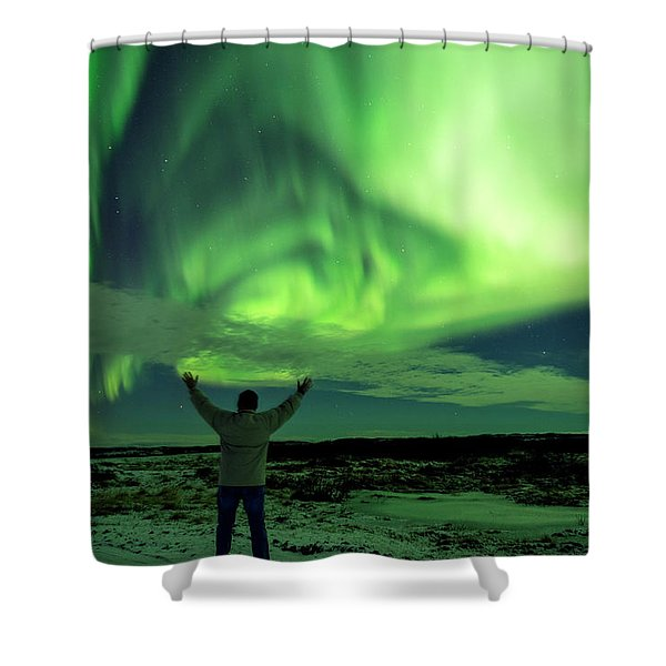 Northern Light In Western Iceland Shower Curtain