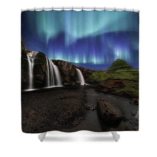 Northern Lights At Kirkjufellsfoss Waterfalls Iceland Shower Curtain