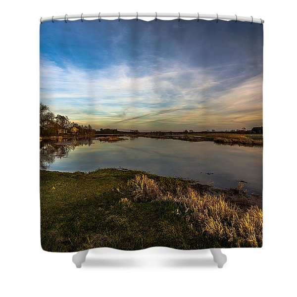 Nostalgic Landscape With Narew River  Shower Curtain