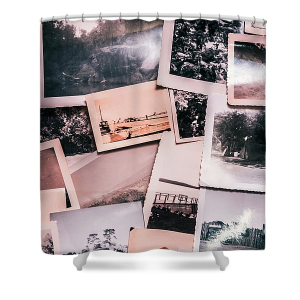 Nostalgic Photo Print Background Of A Collection Of Old Faded Sc Shower Curtain