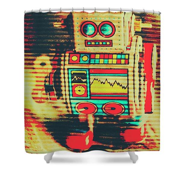 Nostalgic Tin Sign Robot Shower Curtain