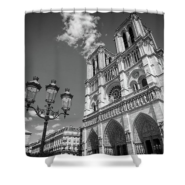 Notre Dame Black And White Shower Curtain