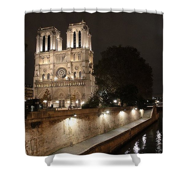 Notre Dame Cathedral From Petit Pont Shower Curtain