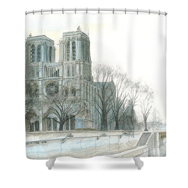 Shower Curtain featuring the painting Notre Dame Cathedral In March by Dominic White