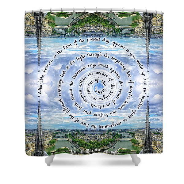Notre-dame Cathedral Spire Paris Victor Hugo Novel Shower Curtain